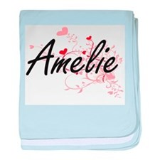 Amelie Artistic Name Design with Hear baby blanket