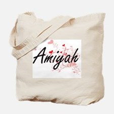 Amiyah Artistic Name Design with Hearts Tote Bag