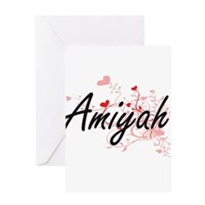 Amiyah Artistic Name Design with He Greeting Cards