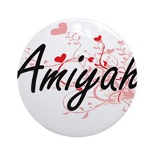 Amiyah Artistic Name Design with Ornament (Round)