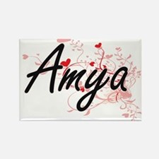 Amya Artistic Name Design with Hearts Magnets