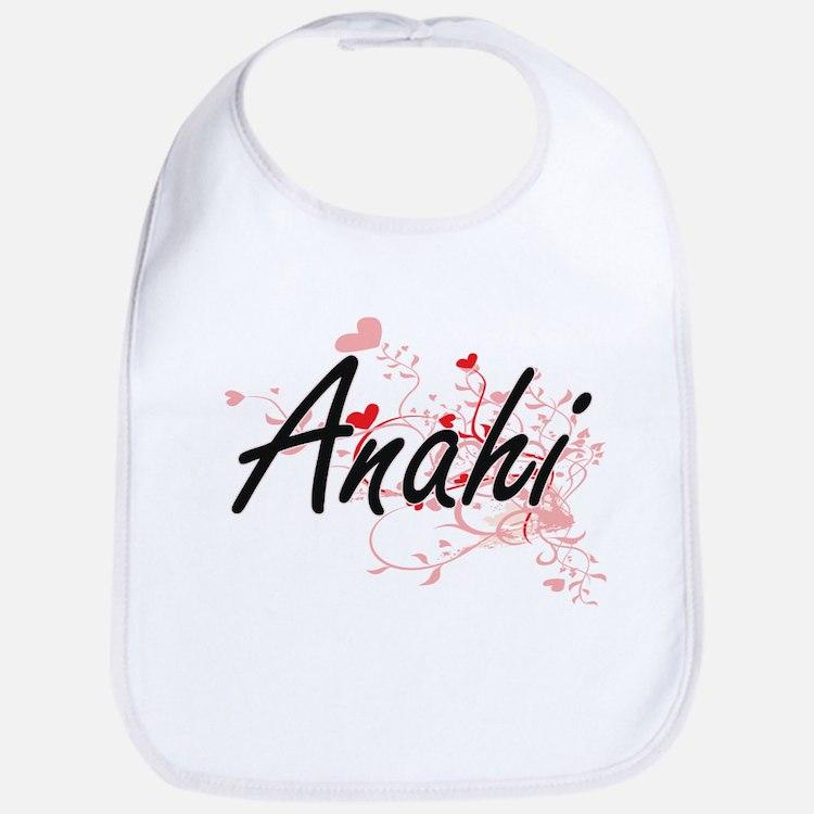 Anahi Artistic Name Design with Hearts Bib