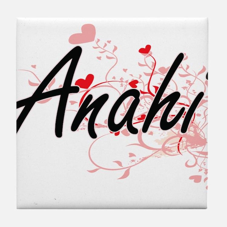Anahi Artistic Name Design with Heart Tile Coaster