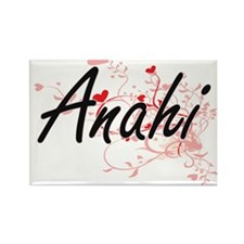 Anahi Artistic Name Design with Hearts Magnets