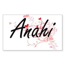 Anahi Artistic Name Design with Hearts Decal