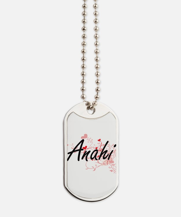 Anahi Artistic Name Design with Hearts Dog Tags