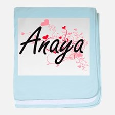 Anaya Artistic Name Design with Heart baby blanket