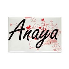 Anaya Artistic Name Design with Hearts Magnets