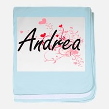 Andrea Artistic Name Design with Hear baby blanket
