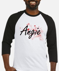 Angie Artistic Name Design with He Baseball Jersey