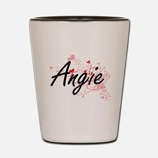 Angie Artistic Name Design with Hearts Shot Glass