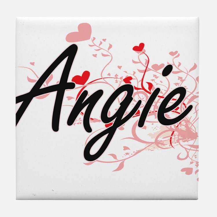 Angie Artistic Name Design with Heart Tile Coaster