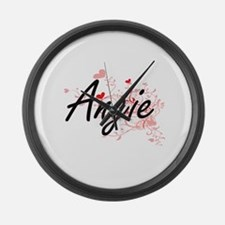 Angie Artistic Name Design with H Large Wall Clock