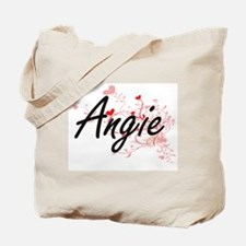 Angie Artistic Name Design with Hearts Tote Bag