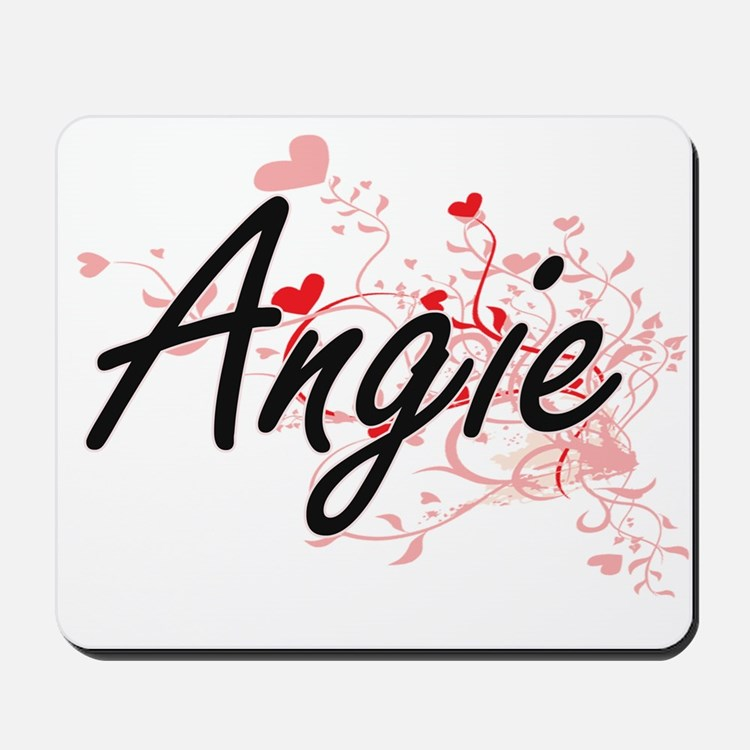 Angie Artistic Name Design with Hearts Mousepad
