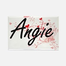 Angie Artistic Name Design with Hearts Magnets