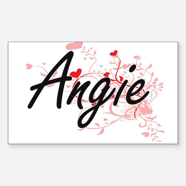 Angie Artistic Name Design with Hearts Decal