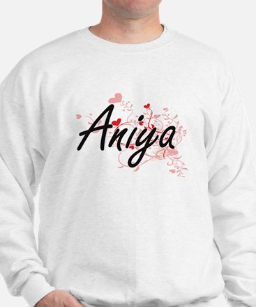 Aniya Artistic Name Design with Hearts Sweater