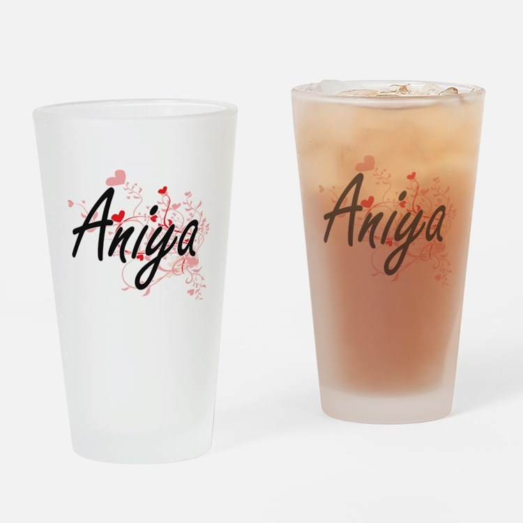 Aniya Artistic Name Design with Hea Drinking Glass