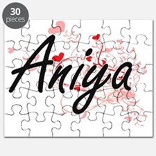Aniya Artistic Name Design with Hearts Puzzle