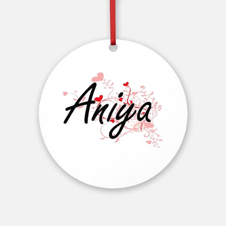 Aniya Artistic Name Design with H Ornament (Round)