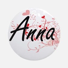 Anna Artistic Name Design with He Ornament (Round)