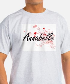 Annabelle Artistic Name Design with Hearts T-Shirt