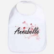 Annabelle Artistic Name Design with Hearts Bib