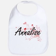 Annalise Artistic Name Design with Hearts Bib