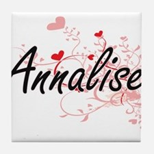 Annalise Artistic Name Design with He Tile Coaster