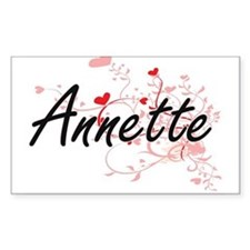 Annette Artistic Name Design with Hearts Decal