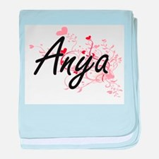 Anya Artistic Name Design with Hearts baby blanket