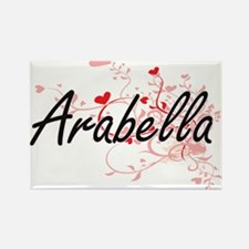 Arabella Artistic Name Design with Hearts Magnets