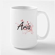 Aria Artistic Name Design with Hearts Mugs