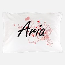 Aria Artistic Name Design with Hearts Pillow Case