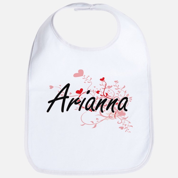 Arianna Artistic Name Design with Hearts Bib