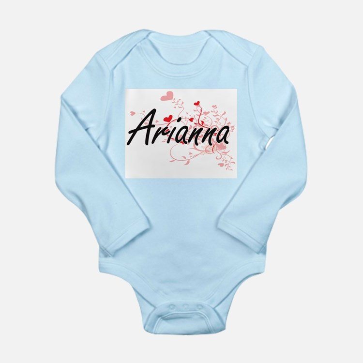 Arianna Artistic Name Design with Hearts Body Suit