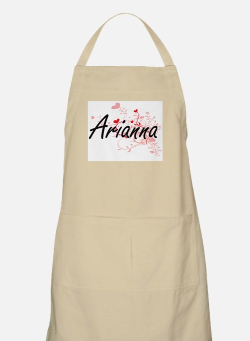 Arianna Artistic Name Design with Hearts Apron