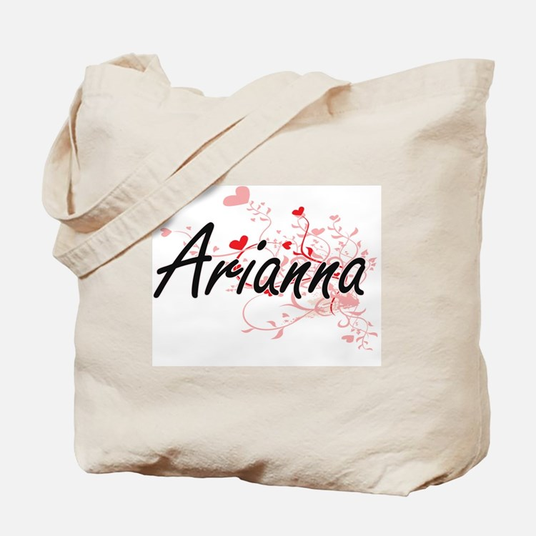 Arianna Artistic Name Design with Hearts Tote Bag
