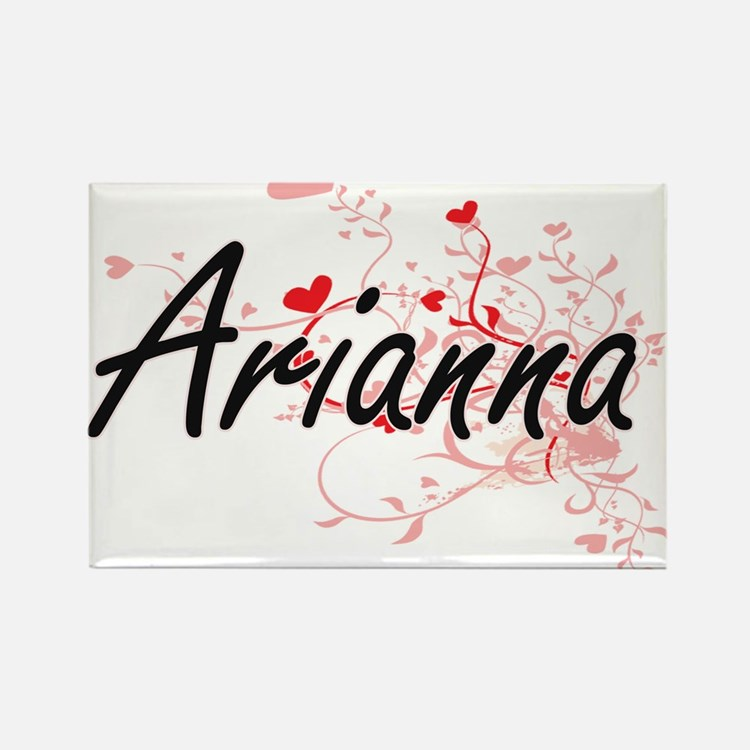 Arianna Artistic Name Design with Hearts Magnets