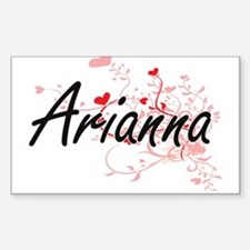 Arianna Artistic Name Design with Hearts Decal