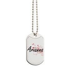 Arianna Artistic Name Design with Hearts Dog Tags