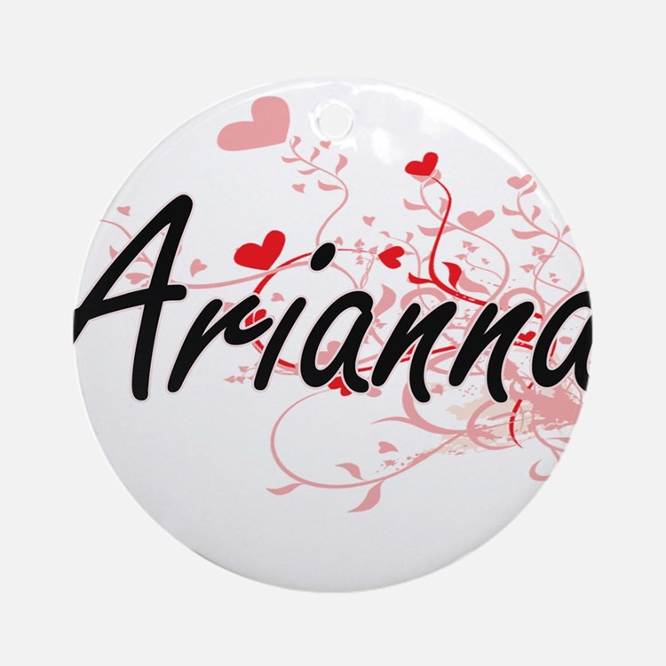 Arianna Artistic Name Design with Ornament (Round)