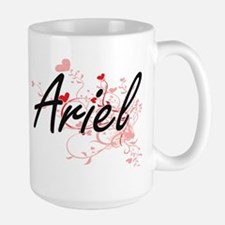 Ariel Artistic Name Design with Hearts Mugs