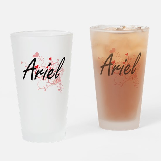 Ariel Artistic Name Design with Hea Drinking Glass
