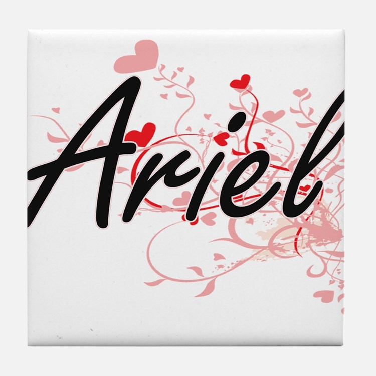 Ariel Artistic Name Design with Heart Tile Coaster