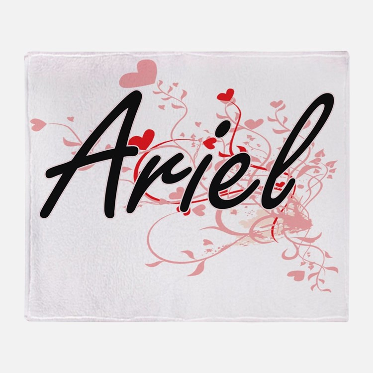 Ariel Artistic Name Design with Hear Throw Blanket