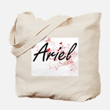 Ariel Artistic Name Design with Hearts Tote Bag