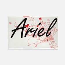 Ariel Artistic Name Design with Hearts Magnets