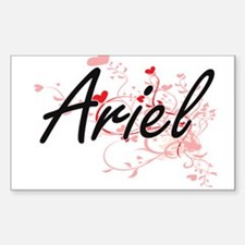 Ariel Artistic Name Design with Hearts Decal